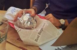 old stree burger in yo hand